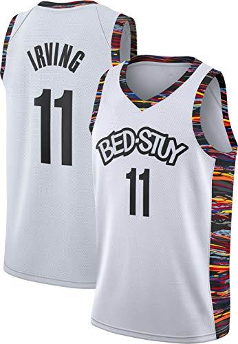 Decheng Herren Jersey Kyrie Irving Nets Brooklyn # 11 Basketball Uniform Mesh Jersey Jugendtrikot Kurzarm-Sportoberteil Swingman Jersey Basketball Trikot Größe S-2XL (Weiß & Farben, L(50))
