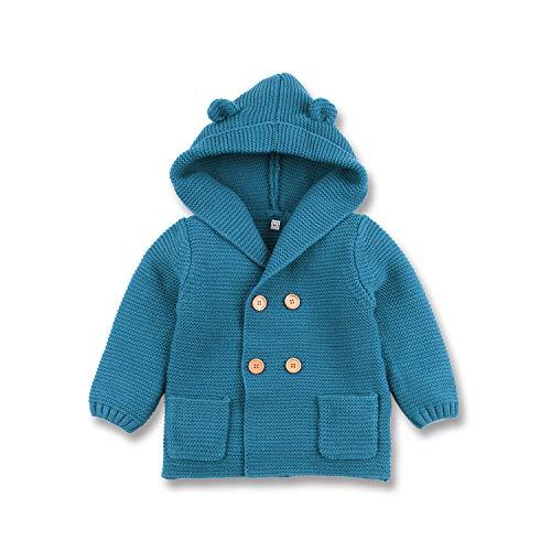 mimixiong Bebé niño de Abrigo Capa Chaqueta otoño Invierno Encapuchados Ropa Caliente(Azul,12-18 Meses)
