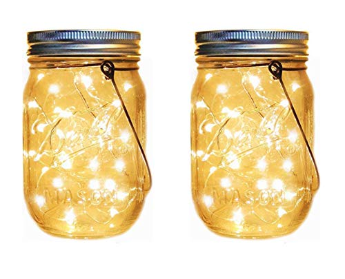 Casabits Decor Solar Mason Jar Lights, 2 Pack 10 LED Warm White - Hanging Solar Garden Lights - Solar LED Outdoor Lights for Patio or Garden – Beautiful Decorative Lights – Hanging Solar Garden Lights
