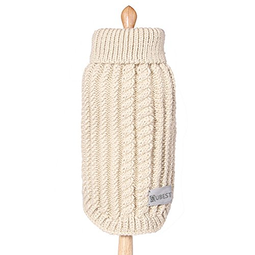 ubest Hundepullover, Sweater Gestrickter Pullover für Kleine Hunde, Hunde Pullover für Herbst Winter, Beige, M