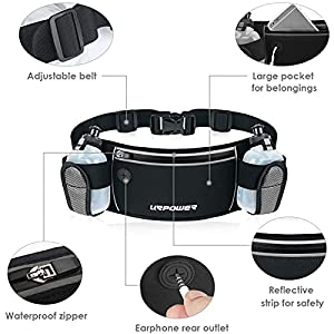 URPOWER Running Belt Multifunctional Zipper Pockets Water Resistant Waist Bag, with 2 Water Bottles Waist Pack for Running Hiking Cycling Climbing and for 6.1 inches Smartphones (Black)