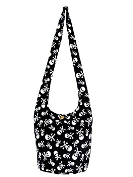 Fully Lined Skull Hippie Hobo Sling Crossbody Bag with Front Phone Pocket - Black and White Medium