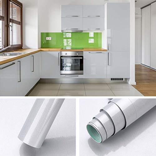 KINLO Glanz Folie - grau - Klebefolie - 5m x 61cm - Plotterfolie- Folie selbstklebend - auch als Möbelfolie - Küchenfolie