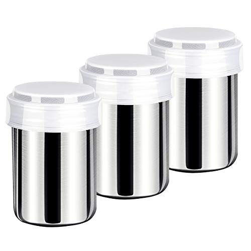 Best Review Of Powdered Sugar Shaker With Lid-3Pack, Stainless Steel Mesh Powder Shaker Duster
