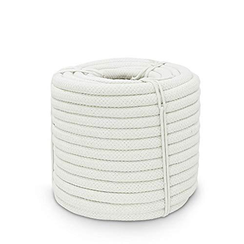 Aoneky Cuerda de Algodón Natural - 10mm/14mm/16mm, 30M/60M, Cuerda Gruesa Trenzada de Algodón para Macramé Bricolaje Manualidades Artesanía Decoración, Cordón Colgante de Pared, Blanco (10mm, 30m)