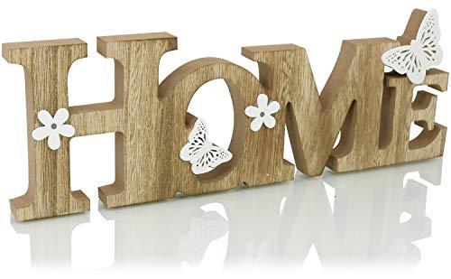 com-four® Supporto Decorativo in Legno - Scritta Home per Stare in Piedi - Scritta in Legno - 35x12x2cm
