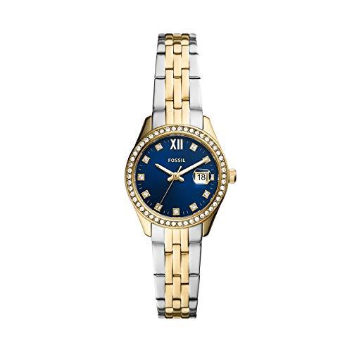 Fossil Relógio feminino Scarlette micro de aço inoxidável com detalhes em cristais de quartzo, Relógio Scarlette Micro de aço inoxidável de três ponteiros - ES5034, Prata/ouro/azul, One Size