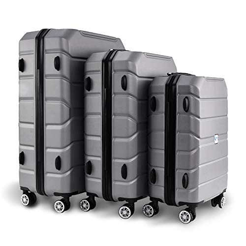 BEEZINI Luggage 3 Piece Set ABS Suitcase Expandable Rolling Lightweight Suitcase with Spinner Wheels,White