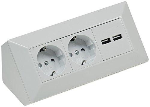 2 enchufes de esquina para mesa con 2 puertos USB, 230 V, en ángulo de 45°, precableado, para cocina o taller, color blanco