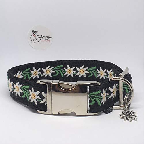 Jimmy und Katz Hundehalsband Edelweiß Blume schwarz 35-58cm x 2,5cm