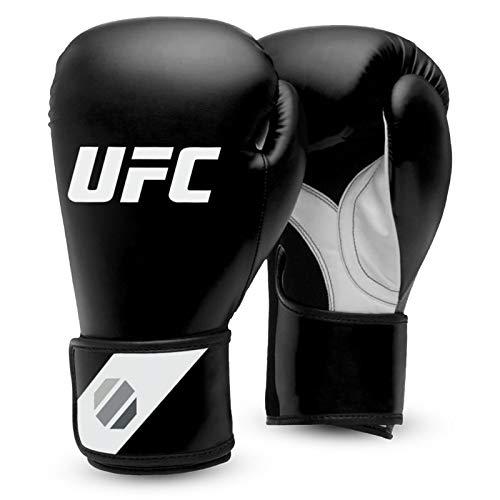 UFC Herren Fitness Training Glove Boxhandschuhe, Schwarz/Weiß/Silber, 16 oz