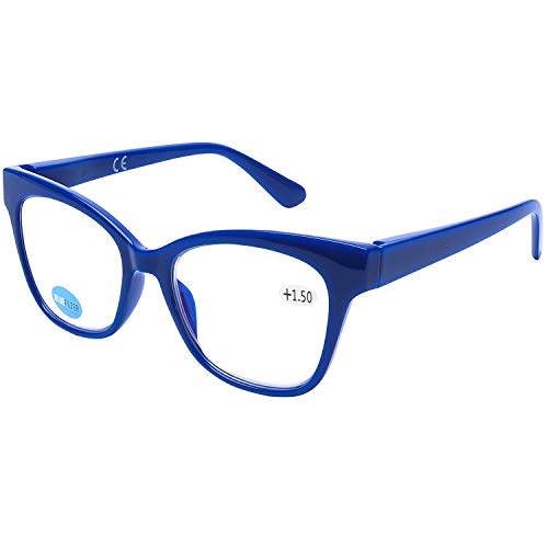 DOOViC Blaulichtfilter Lesebrille Blau/Eckig Rahmen Große Gläser Federscharnier Computerbrille mit Stärke für Damen/Herren 3,0