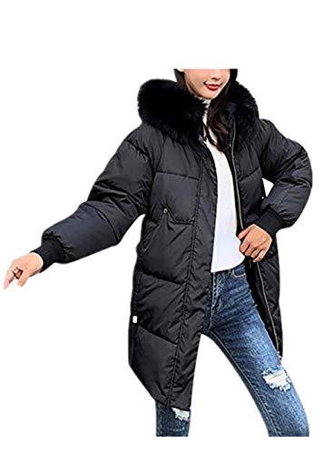 TEFIIR Damen Einfarbig Daunenjacke mit Kapuze Langen Schlanken Mantel Hemd Outwear Winddicht Warme Baumwolljacke Outdoor-Sportarten Herbst/Winter Reisestil Oben