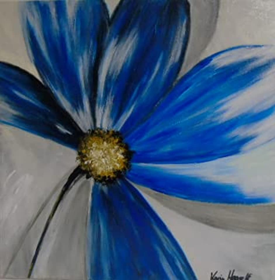 """gemaltes Bild"" modern Blüte in blau Unikat""Acryl auf Leinwand"" selbst gemalt"