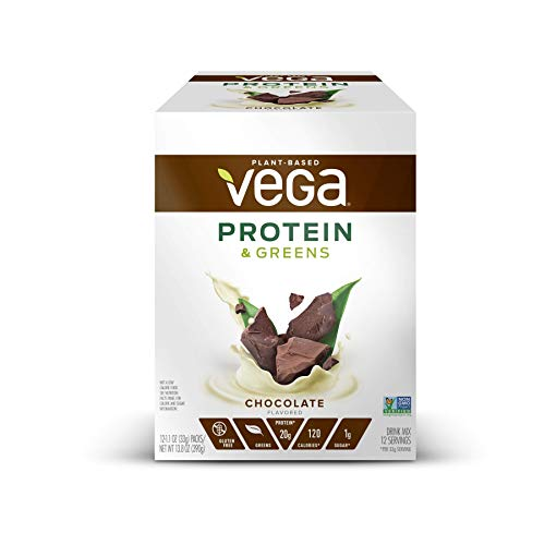Vega Protein & Greens Chocolate (12 Count, 1.1 oz Packets) - Plant Based Protein Powder, Gluten Free, Non Dairy, Vegan, Non Soy, Non GMO - (Packaging may vary)