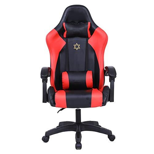 NASTON Gaming Chair, Ergonomischer Computerstuhl Für Erwachsene, Jugendliche Kinder Verstellbarer Verstellbarer Home Office-Stuhl Mit Hoher Rückenlehne Und Kopfstützen-Lordosenstütze,Rot