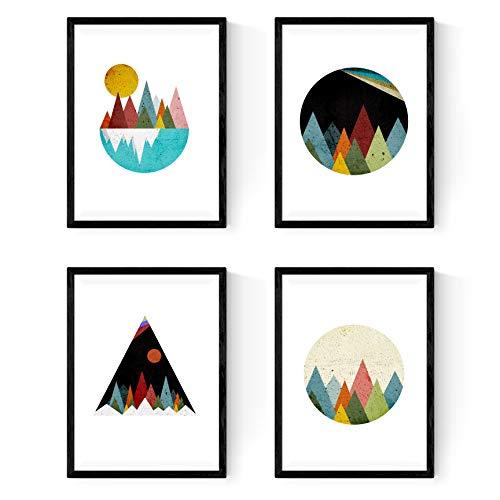 Set met 4 latten omlijst, geometrische 4 bergen. Nordico stijl bogen decoratie van huis. Rol van 250 gram van hoge kwaliteit. (A4)