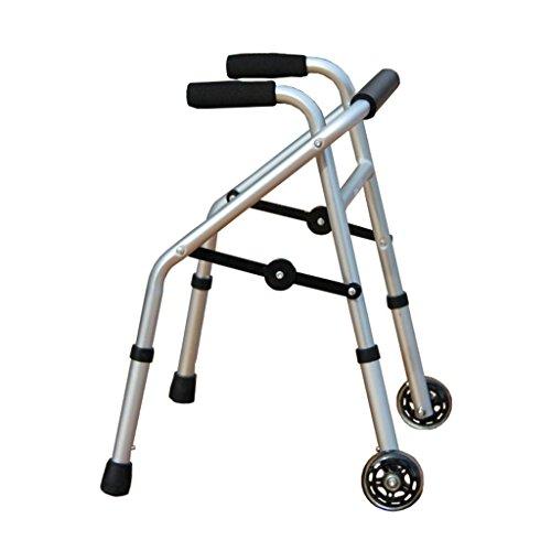 BZEI-WALKERS Rollator de aleación de Aluminio, Ligero Plegable Rollator 2 Ruedas Walker Aid para niños con discapacidad barandillas barandillas, Altura Ajustable 52-62cm, Plata