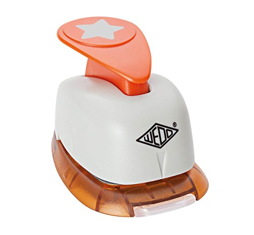 Wedo 168117 Motivlocher klein Stern (mit praktischem Auffangbehälter, Ausstanzung 1,5 x 1,5 cm) grau / orange