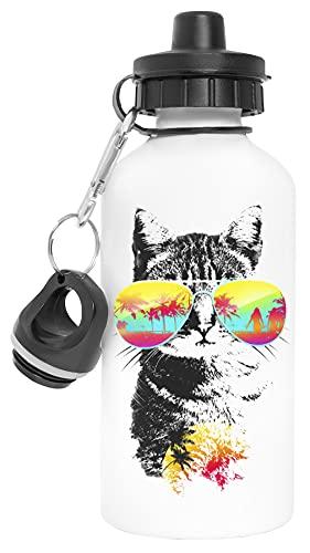 Hipster Gato Aluminio Reutilizable Deporte Viaje Botella de Agua Blanco Aluminium Reusable Sport Travel Water Bottle White