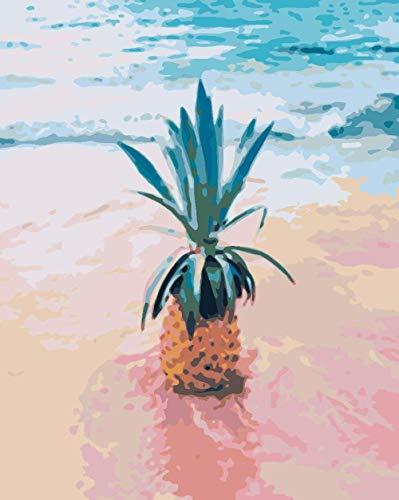DIY olieverfschilderij van nummers Kits, ananas op het strand foto's kunst afdrukken muur stickers voor woonkamer slaapkamer keuken