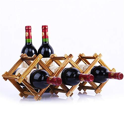 N\A Botellero de vino de madera para 3/5/6/10 botellas de vino tinto soporte soporte de barra de exhibición estante plegable de madera para decoración del hogar (color: 2)