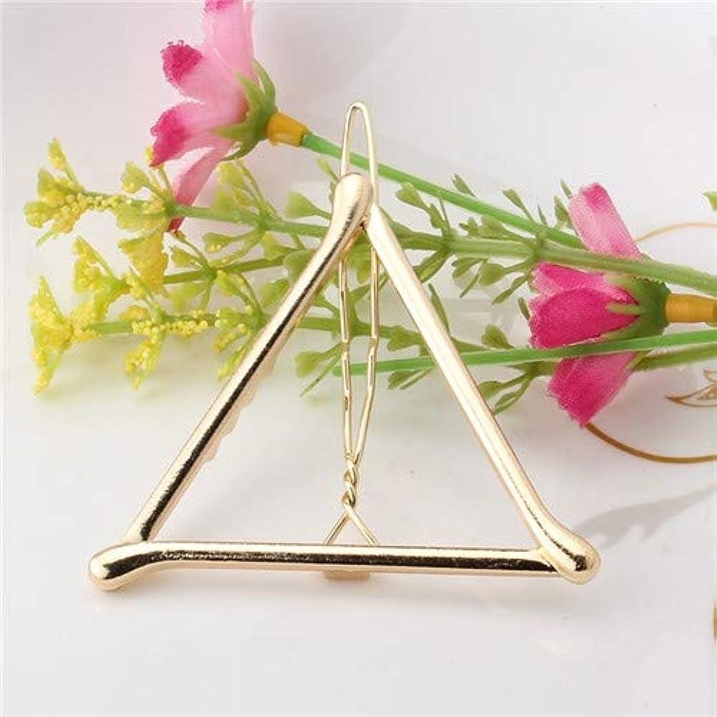 宴会守銭奴ご予約フラワーヘアピンFlowerHairpin YHM 2ピースファッション女性女の子合金金属三角形サークルムーンヘアクリップジオメトリヘアピンホルダーヘアアクセサリー(シルバーリップ) (色 : Gold Triangle)