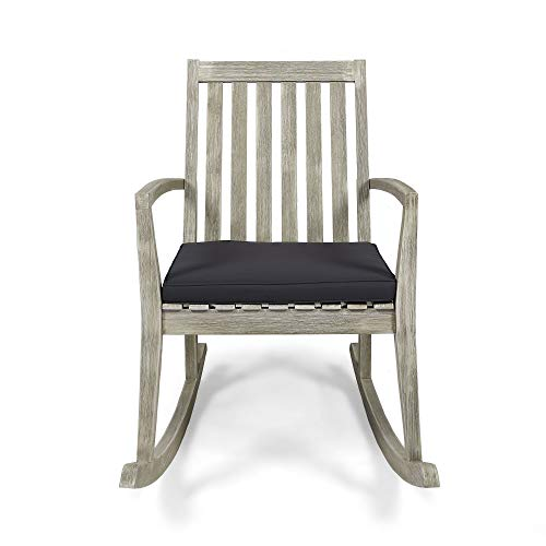 Contemporary Home Living 36.5' Pewter Gray Mid Century Outdoor Furniture Patio Rocking Chair - Gray Cushion