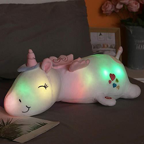 60Cm Lindo Brillante luz Led Unicornio Juguetes de Peluche Encantador Animal Luminoso Unicornio Almohada muñecos de Peluche para niños