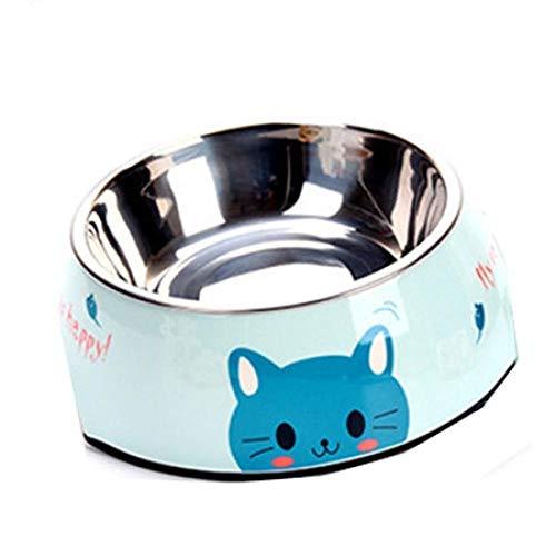 Hundenapf Edelstahl Hundenapf Rosa Blau Katzen Schalen Druckmuster Tiernahrung Feeder Gesundheit Kunststoff Wasser Einzelschale Für Hundekatze M Blau