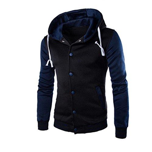 Luckycat Männer Mantel Jacke Outwear Pullover Winter Schlank Hoodie Warme Kapuzenpulli Sweatshirt (Navy, EU 52-XL)