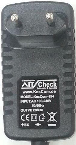 Cargador / Fuente de alimentación de 9V con clavija de punta hueca de 5,5mm, apta para Casio CTK-120 / CTK-230 / CTK-481 / CTK-496 / CTK-573 / CTK-591