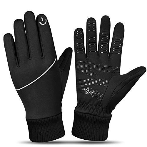 MOREOK Winterhandschuhe Touchscreen Handschuhe für Damen und Herren,Radsporthandschuhe zum Laufen Handschuhe Radfahren Motorrad Sport Schwarz MK023-M