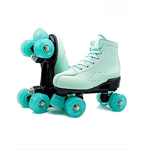 Dream ZX Rollschuhe mädchen,Klassische Retro Damen 4 Wheel Roller Skates Full Speed rollerskates für Erwachsene im Freien Frauen Anfänger Kindertagsgeschenk(Farbe : Green, Größe : 42)