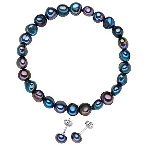 Valero Pearls Damen-Schmuckset Armband + Ohrringe Ohrstecker 925 Silber rhodiniert hochwertige Süßwasser-Zuchtperle pfauenblau - Perlenarmband Perlenohrstecker mit echten Perlen dunkelblau 60201788