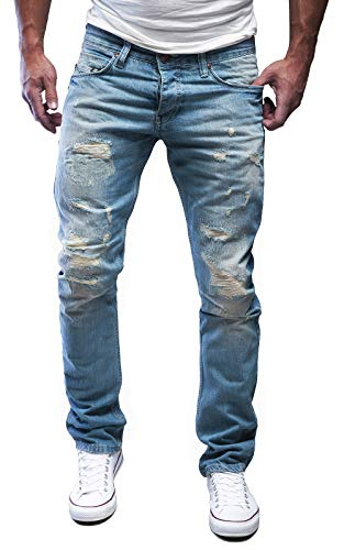 MERISH Jeans Herren Destroyed Hose Jeanshose Männer Slim Fit Denim 1254 (34-32, 1254 Hellblau)