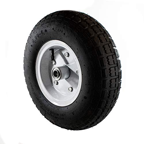 ALEKO 2WAP13 Pneumatic Replacement Wheel for Wheelbarrow Air Filled Turf Tire for Hand Trucks 13 Inches Black White Rim Lot of 2