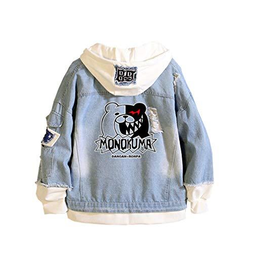 Cosstars Danganronpa Monokuma Anime Hoodie Jeansjacke Unisex Cosplay Denim Jacket Outwear Mäntel Blau 1 L