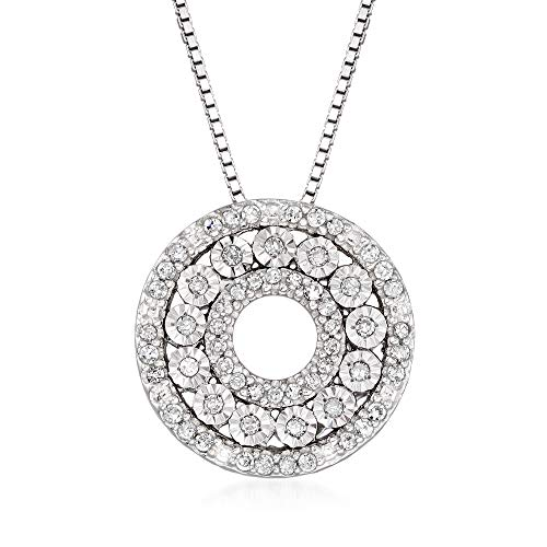 Ross-Simons 0.21 ct. t.w. Diamond Open-Circle Pendant Necklace in Sterling Silver. 20 inches (0.21 Ct Color)