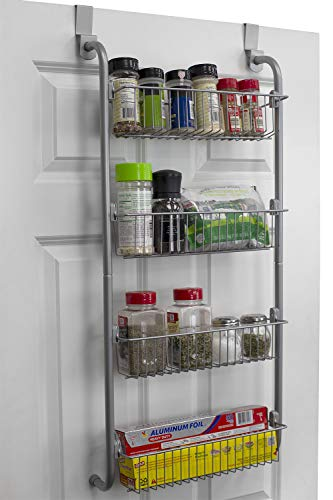 Home Basics BH45975 Heavy Duty 4 Tier Over The Door Storage Shelf Hanging Cabinet Metal Pantry Rack Organizer Spice Space, Grey, Gray