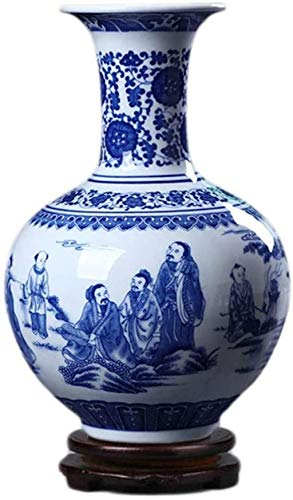TINGFENG Jarrón de cerámica hecho a mano con base giratoria para sala de estar, accesorios de salón (33 x 20 cm)
