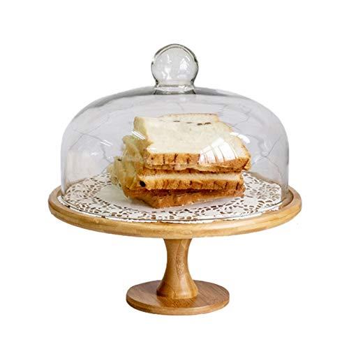 JISHIYU Soporte de la torta giratoria con la cúpula de la torta de cristal, el soporte de la torta de madera reutilizable, el plato de la porción multifuncional, la bandeja de pasteles, la ensalada, e