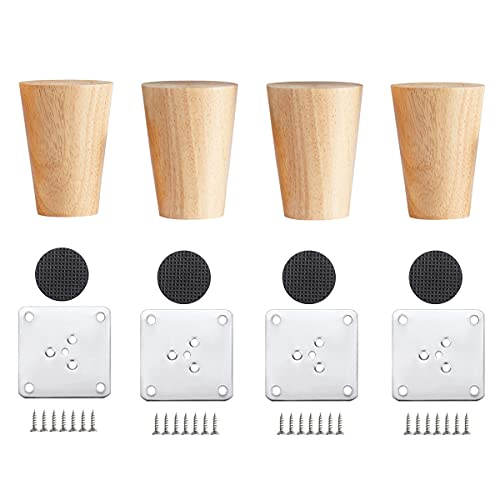 Qrity 4 Piezas Patas para Muebles Madera, Patas de Madera para Mesa, Patas de Sofá o Muebles, Pies de Madera para Muebles con Placas de Montaje y Tornillos, 6CM