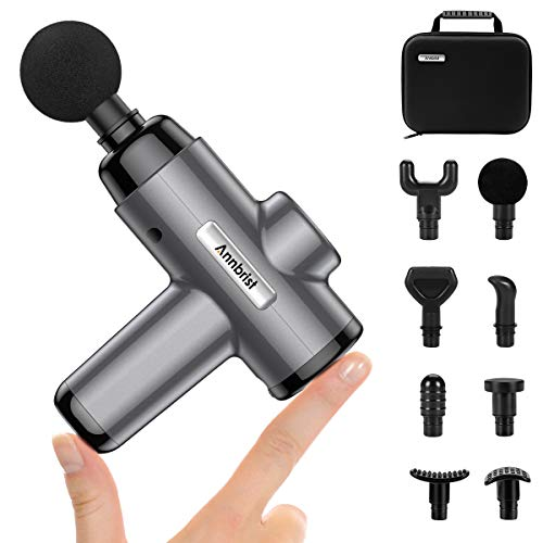 Annbrist Massage Gun Deep Tissue Massager, Muscle Massager Percussion Massager Cordless 5 Speed 8 Heads, USB Powered, Portable for Home Gym and Travel, Small Holder Suitable for Women and Teenagers