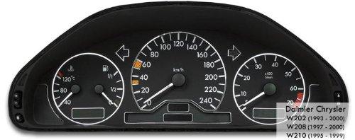 Tachodekorset Chrom für Benz C-Klasse W202 vor und nach Facelift (1993 - 2000)