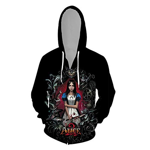 QAL Unisex Hoodies Spiel Alice: Madness Returns Cosplay 3D-Gedruckter Pullover Langarm Cardigan Sportswear Top C- S
