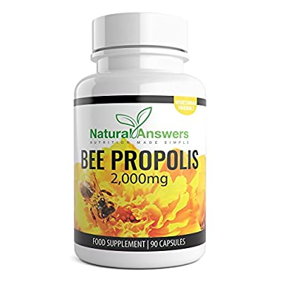 Natural Answers Bee Propolis Food Supplement, 2000mg - 45 Servings 90 Capsules - 100% Suitable for Vegetarians UK Manufactured - Bees Propolis Propoli Pure Propolis