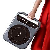 Karinear - Placa de inducción portátil con asa, mesa de cocción eléctrica con control táctil, temporizador, cerradura para niños, 2000 W, 313 x 314 mm, peso ligero