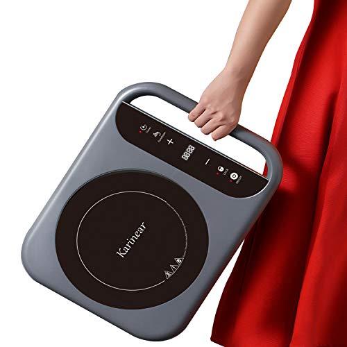 Karinear - Placa de inducción portátil con asa, mesa de cocción eléctrica...