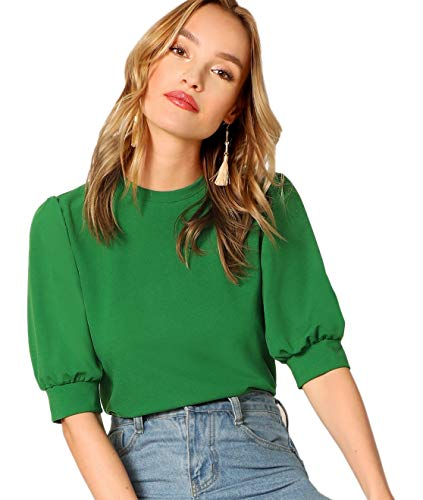 95% Polyester, 5% Spandex.Fabric has some stretch. Half sleeve round neck plain shirt. Very nice color,elegant balloon sleeve.suitable for working and going out in summer. Model Measurements,Size: S,Height: 69.3inch,Bust: 33.9inch,Waist: 23.6inch,Hip...